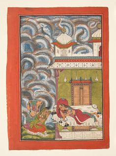 Andhrayaki Ragini: Folio from a ragamala series (Garland of Musical Modes)  Date: ca. 1710 Within the palace interior a lady reclines on her bed, restlessly pulling her hair in frustration at the absence of her lover. Her maids are outside, sheltering themselves with their saris from a great thunderstorm that fills the sky. The dark swirling clouds are riven by bolts of lightning. The drama of the storm serves as a metaphor for the turmoil of love.