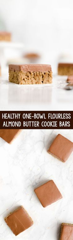 Healthy One-Bowl Flourless Almond Butter Cookie Bars – soft, chewy & 87 calories! Healthy Cookie Recipes, Healthy Cookies, Healthy Sweets, Healthy Baking, Baking Recipes, Healthy Food, Healthy Bars, Bar Recipes, Light Recipes
