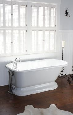 """Traditional wood shutters are from Horizon Shutters.  You send them your window measurement and the shutters come to you ready to hang with the hinges already attached. It was super easy and they have good prices.  I am extremely impressed with the quality of these shutters. They have trim colors that will """"closely match"""" several national brands whites, but again... if you want it to match exactly pay the extra charge to use your brand/color."""