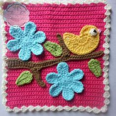 FREE Bird Tree Flower Applique crochet pattern - Pinned by intheloopcrafts.blogspot.com