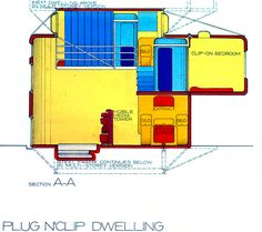 Plug 'n' Clip House Project - Archigram Archival Project Irish Design, Envelope Design, Commercial Architecture, Zaha Hadid, Home Projects, Plugs, Architectural Sketches, Teaching, Variables