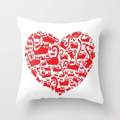 Cute red heart made from cats Throw Pillow by adrianserghie
