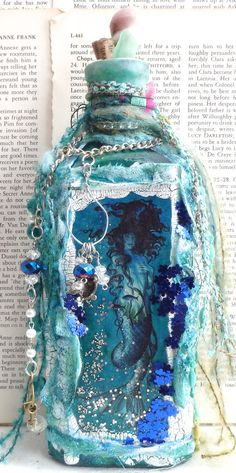 Altered Bottle Art Mermaid of the Deep Mixed by BottleArtBoutique