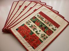 Christmas quilted placemats traditional set of 6 by StephsQuilts #QQQ Team