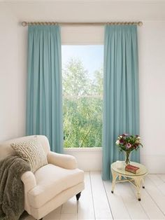 Ready Made Pencil Pleat Curtains In Duck Egg. Blackout or Cotton Lined, 100% Cotton #naturalcurtaincompany #blackout #thermal