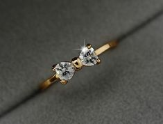 Austria Crystal Rings Gold Color Finger Bow Ring Zircon Crystal