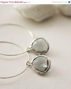SALE Charcoal Ice  Hoop Earrings SER55 by PolliniAtelier on Etsy, $15.00