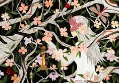 Using a careful combination of hand-cut paper, gouache, hand-stitching and other mixed media, Brooklyn-based artist Dan-ah Kim creates magical worlds we'd love to get lost in. She's currently showing a new collection of work starting today at Thinkspace Gallery in Culver City, CA. (Released as a web preview, these are some of her pieces she …