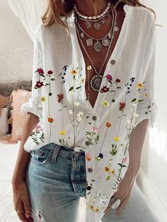 Work Shirts, Shirts & Tops, Casual Shirts, Casual Clothes, Casual Tops, Casual Wear, Mode Hippie, Outfits Mujer, Shirt Bluse