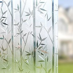 Rabbitgoo® Static Window Film for Glass Privacy Film Frosted Glass Self Adhesive Window Film Decorative THICK Upgrade Version 90CM x200CM, 3D Bamboo Pattern for Home Kitchen Office