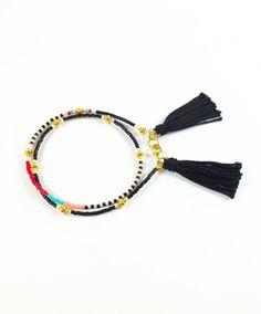 Black Tassel Bracelet Beaded Wrap Bracelet Seed Bead