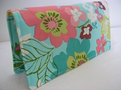 Checkbook Cover Coupon Holder  floral on Turquoise by Joanna1966, $8.00