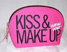 Amazon.com: Victoria's Secret Cosmetic Kiss & Makeup Bag Purse Medium Canvas Hot Pink Limited Edition: Health & Personal Care