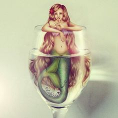 Mermaid drawing and photograph of a wine glass morphed! By Kristina Webb