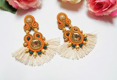 Your place to buy and sell all things handmade Boho Earrings, Statement Earrings, Light Orange, Acrylic Beads, Embroidery Techniques, Light In The Dark, Catcher, Seed Beads, Glass Beads