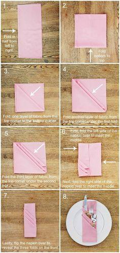 comment plier la serviette d'un mode original, serviette rose