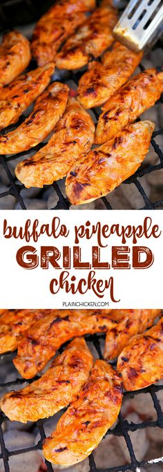 LUNCH/DINNER-Buffalo Pineapple Chicken - chicken marinated in buffalo sauce and pineapple juice - grill, pan sear or bake for a quick weeknight meal. Ready to eat in 15 minutes! Turkey Recipes, Chicken Recipes, Dinner Recipes, Grilling Recipes, Cooking Recipes, Healthy Recipes, Juice Recipes, Pineapple Chicken, Pineapple Juice