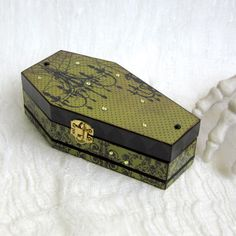 Halloween Coffin Box Goth Decor Gothic Black Olive Green Chandelier Silhouette Decoupaged Trinket Box by rrizzart on Etsy