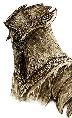 """Beautiful concept art for an Elven Mirkwood guard's helmet in profile from """"The Hobbit: The Desolation of Smaug"""" (2013)."""