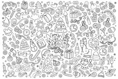 Free coloring page coloring-doodle-happy-new-year-2016-by-balabolka. Doodle to color 'Happy New Year 2016', by Notkoo2008 (Source : 123rf.com)