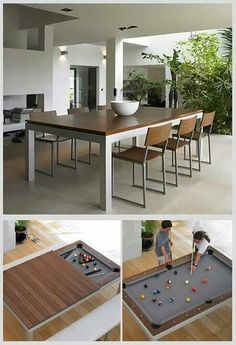 25 Folding Furniture Designs for Saving Space If you have always wanted a pool table but never really had much space, this is the perfect dining table for you. With the wooden cover, you can eat all y Outdoor Pool Table, Pool Table Dining Table, Pool Table Room, Pool Tables, Diy Pool Table, Pool Table Lighting, Folding Furniture, Outdoor Dining Furniture, Table Furniture