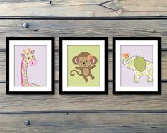 Jungle Jill - Such a sweet and adorable set for a baby girl's room!!! Pink and green with a Monkey Giraffe and Elephant!