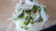 Shaved Brussels Sprouts with Red Pears & Buttermilk Dressing