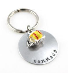 Softball Personalized Name Hand Stamped Keychain
