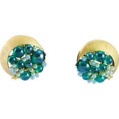 Tortolani Green Fish Bubble Gold White Clip Earrings. https://www.pinterest.com/rubylanecom/vintage-jewelry-under-25/