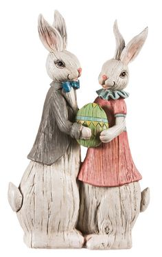 Easter Traditions His and Her Rabbit Statue ^^ Additional details at the pin image, click it  : Garden Christmas Decorations