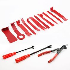 5Pcs Professional Stainless Steel Auto Car Trim Removal Tool Sets Fastener Removers Interior Door Panel Clip Removal Tool U Square /& V Notch Door Panel Pry Bar Tool Kits Car Repair Installation Tools