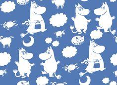 Moomin Retro Pattern - Blue - Fototapeter & Tapeter - Photowall