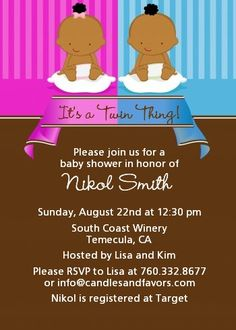 Twin Babies 1 Boy and 1 Girl African American - Baby Shower Invitations