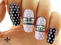 Polka Dots & Lace Stamping Nail Art - YouTube By Cassis P  https://www.youtube.com/watch?v=_omcBX1e1GY