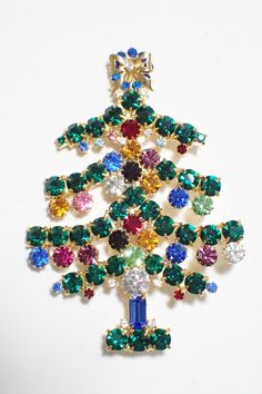 Gale & Friends Green Multi Color Prong Set Rhinestone Christmas Tree Brooch #GaleFriends