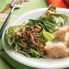 Thai Pork Salad Wraps - You can substitute ground beef or chicken in the filling of these tasty lettuce wraps, seasoned with lime and cilantro. —Diane Hixon, Niceville, Florida