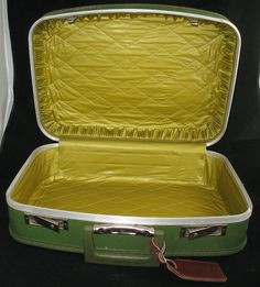 VINTAGE Green Gold HARD CASE TRAVEL LUGGAGE CARRY ON Train BAGGAGE BAG Handbag $188 .. we sell more VINTAGE COLLECTIBLE PIECES at http://www.TropicalFeel.com