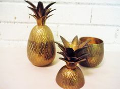 Vintage brass pineapples candle holder vintage by southcentric