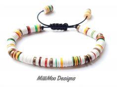 Excited to share the latest addition to my shop: African Vinyl Disc BraceletMens/Unisex BraceletCopper/White Mens BraceletHeishi BraceletMulti BraceletBohoIbizaFriendshipBeachSurf Bohemian Bracelets, Bracelets For Men, Handmade Bracelets, Bracelet Men, Beaded Jewelry, Beaded Bracelets, Men's Jewelry, Expensive Gifts, Ibiza