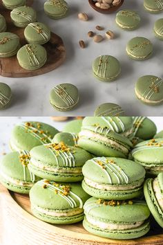 Pistachio Macarons, with a Pistachio Cream Cheese Filling. Includes video on how to make these macarons, and step-by-step intructions! Pistachio Macarons, Pistachio Cookies, Macaroon Cookies, Pistachio Cream, Green Tea Macarons, Pistachio Dessert, Pistachio Recipes, Macaron Cake, French Macaroon Recipes