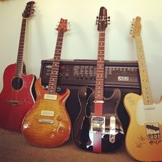 Music is the gateway to the soul. These are a few of my guitars which include a PRS McCarty, 2010 Ovation acoustic, 2006 Fender Telecaster (custom made for a friend of mine), 1950 Fender Telecaster (toured on and autographed by Green Day). Line 6 amp.