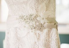 Justin Alexander satin ribbon belt with beaded motif, silk leaves and a brooch (style A015)