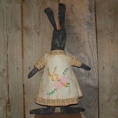 Stuffed primitive rabbits | Primitive Folk Art Black Rabbit doll wi vintage hand embroidery