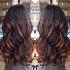 dark brown hair with golden caramel balayage'd high lights . soo wanna dye my hair this color