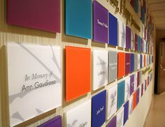 Russell Design | Selected Work : Environmental Graphic Design : Signage. Saint Francis Hospital Legacy Donor Wall