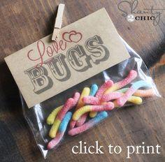 Free Printable Valentines: Love Bugs. But put dollar store plastic bugs inside. #lesssugarplease