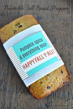 Printable Fall Bread Wrapper | Thirty Handmade Days