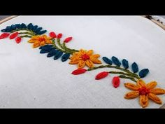 Hand Embroidery : border design by nakshi katha. : Hand Embroidery : border design by nakshi katha. Border Embroidery Designs, Basic Embroidery Stitches, Hand Embroidery Videos, Embroidery Techniques, Embroidery Sampler, Machine Embroidery, Hand Work Embroidery, Embroidery Flowers Pattern, Ribbon Embroidery