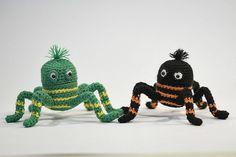 Spinnen häkeln.....Figuren können mit Ü-Ei innen oder auch ohne gemacht werden....