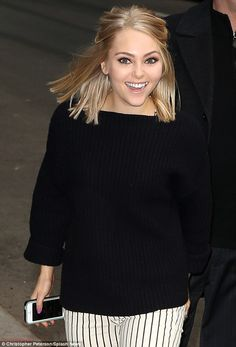 Carrie would be proud! AnnaSophia Robb did her Ms Bradshaw proud by sporting monochrome... right down to her iphone as she arrived for Letterman on Wednesday